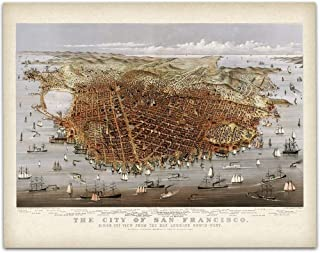 1878 San Francisco California Panoramic Map Art Print - 11x14 Unframed Art Print - Great Vintage Home Decor Under $15