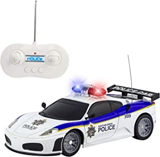 Justice Team Police RC Police Car 1:20 Scale Full Function Remote Control - Flashing Lights + Siren Sounds + Light Up Wheels
