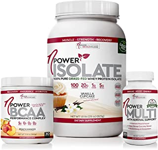 nPower Ultimate Vanilla Cupcake Grass Fed Whey Protein, Peach Mango BCAA Collagen and Multivitamin with Adrenal Support Bu...