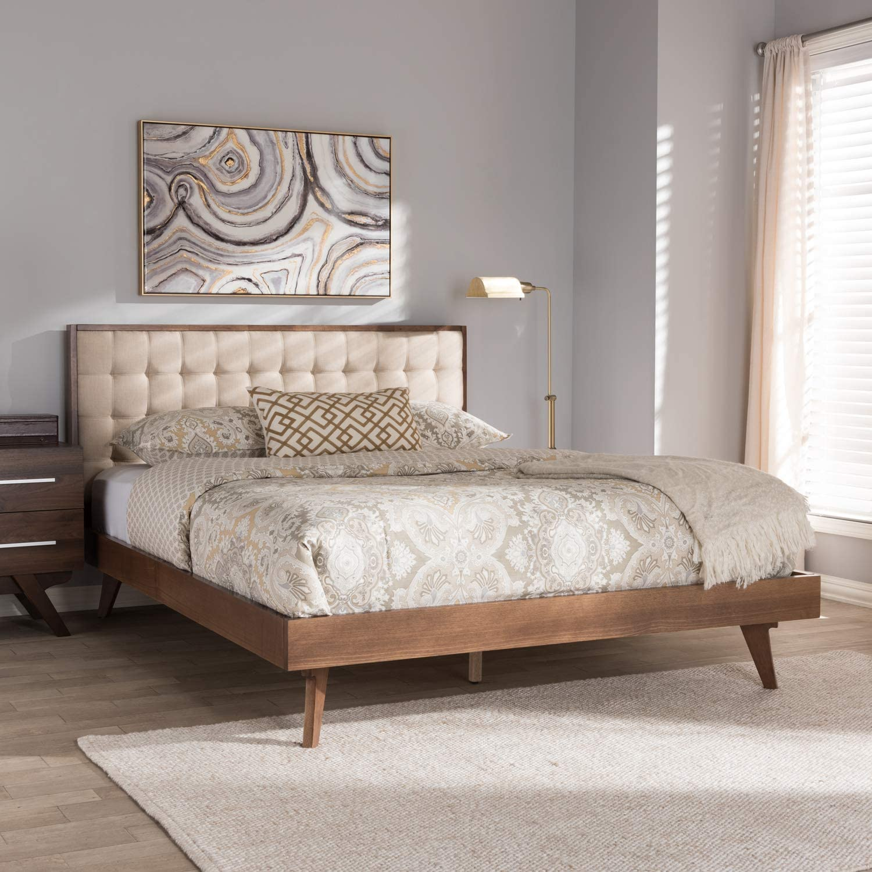 Baxton Studio Soloman Mid-Century Modern Light Beige Fabric and Walnut Brown Finished Wood King Size Platform Bed/King/Mid-Century/Beige/Medium Wood/Fabric Linen Polyester 100%/Rubber Wood/MDF/Foam
