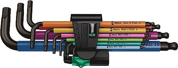 Wera 05073593001 950 Spkl/9 Sm N Multicolor L-Key Set, Metric, Blacklaser, 9 Pieces
