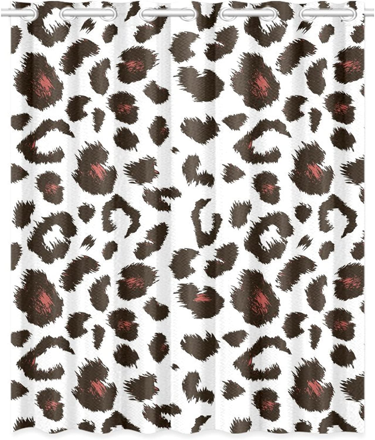 InterestPrint Blackout Window Curtain Leopard Print Pattern Room Bedroom Kitchen Home Living Solid Grommet Window Drapes Curtain 52x63 Inch