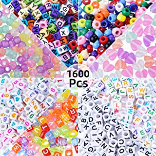 Roblue 1600PCS 8 Types Cube Letter Beads Number Beads and Alphabet Beads A-Z Beads for Jewelry Making Bracelets Necklaces DIY Craft Kids 6x6mm (Colorful-Cube)