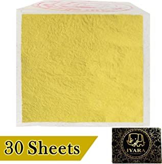 IYARA 30 Edible Leaf Sheets – Multipurpose 24 Karat Yellow Gold Leaves for Food and Cake Decoration, Spa Anti-Wrinkle Face Masks, Art, Crafts, Gilding, Restoration, DIY Projects (1.2
