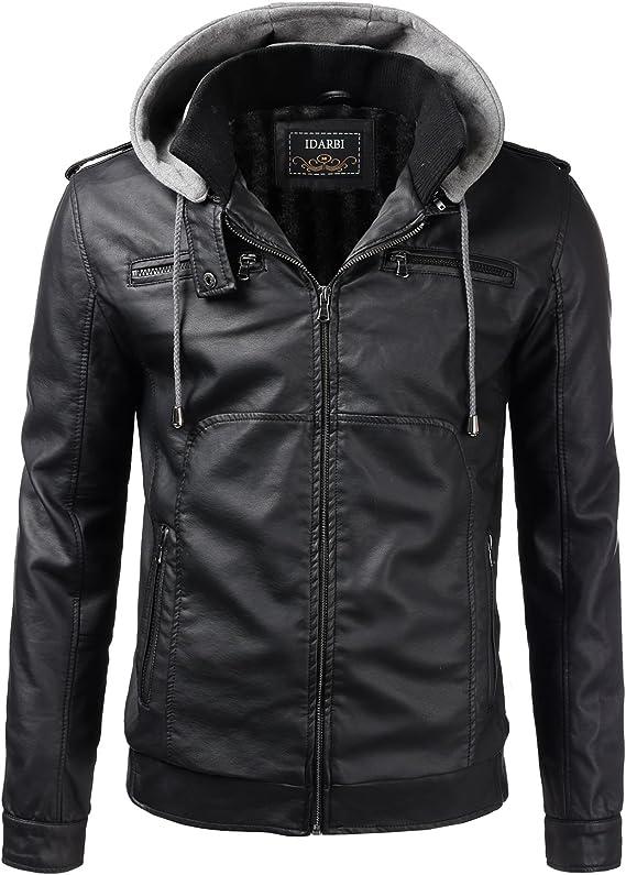 IDARBI Mens Long Sleeve Leather Jacket