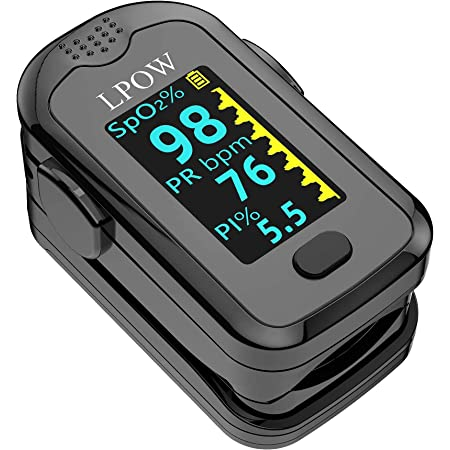 Saturimetro da dito, Monitor della Saturazione di Ossigeno nel Sangue per Frequenza del Polso, Monitor della Frequenza Cardiaca e Livelli di SpO2 con Display a OLED, Batterie e Cordino Inclusi