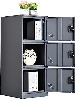 MECOLOR Petit casier vertical à un niveau avec cadenas 2 ou 3 compartiments de rangement pour employé, maison, bureau, éco...