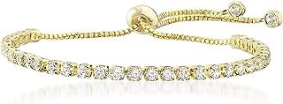 3mm Round Cubic Zirconia Adjustable Bolo Tennis Bracelet for Women