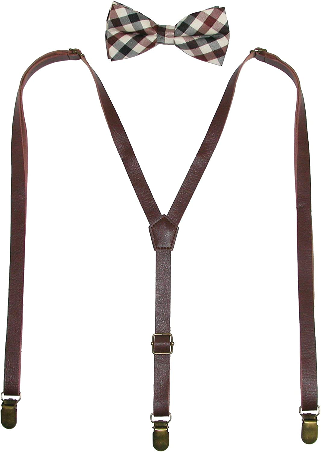 CTM Men's Brown Plaid Bow Tie with Brown Faux Leather Suspender Set