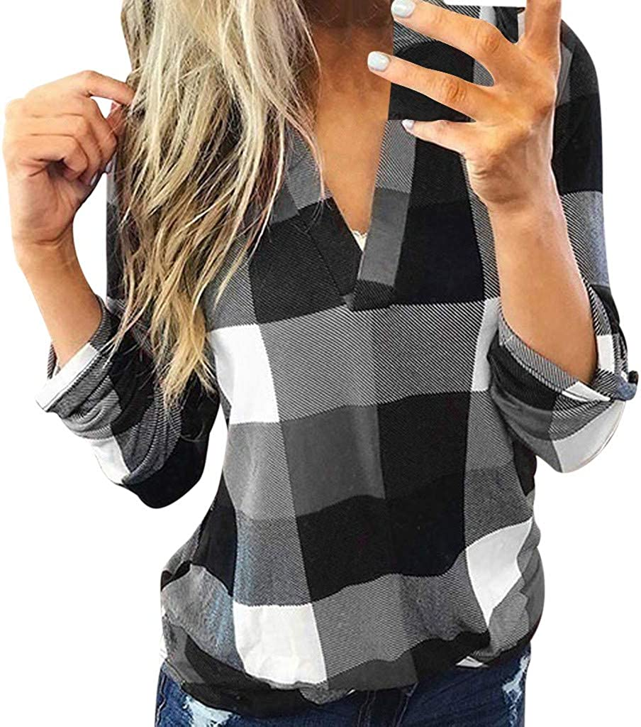 Masbird Fall Clothes for Women, Womens Casual Long Sleeve Plaid Shirts V Neck Sweatshirts Classic-Fit Tunic Tops
