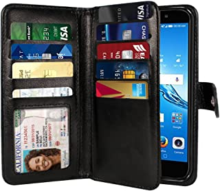 NEXTKIN Ascend XT2 H1711 Case, Leather Dual Wallet Folio TPU Cover, 2 Large Pockets Double flap, Multi Card Slots Snap Button Strap For Huawei Ascend XT2 H1711/Elate 4G/Y7 2017 5.5 inch - Black