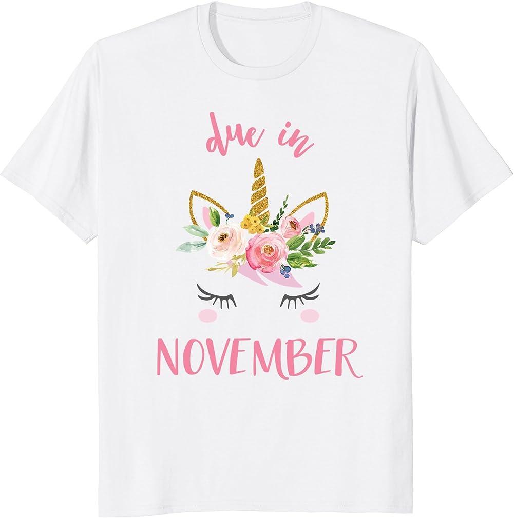Due In November Unicorn Pregnancy Announcement Shirt