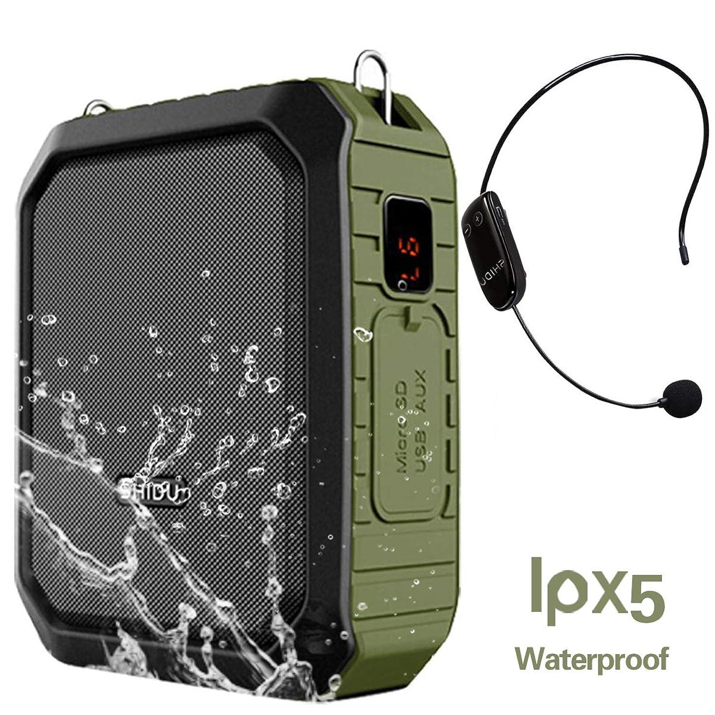 Voice Amplifier Wireless Headset Microphone IPX5 Waterproof Bluetooth Mini Pa Speaker 18W 4400mAh Rechargeable Portable Waistband Voice Amplifier for Teachers, Trainers, Karaoke or Outdoors