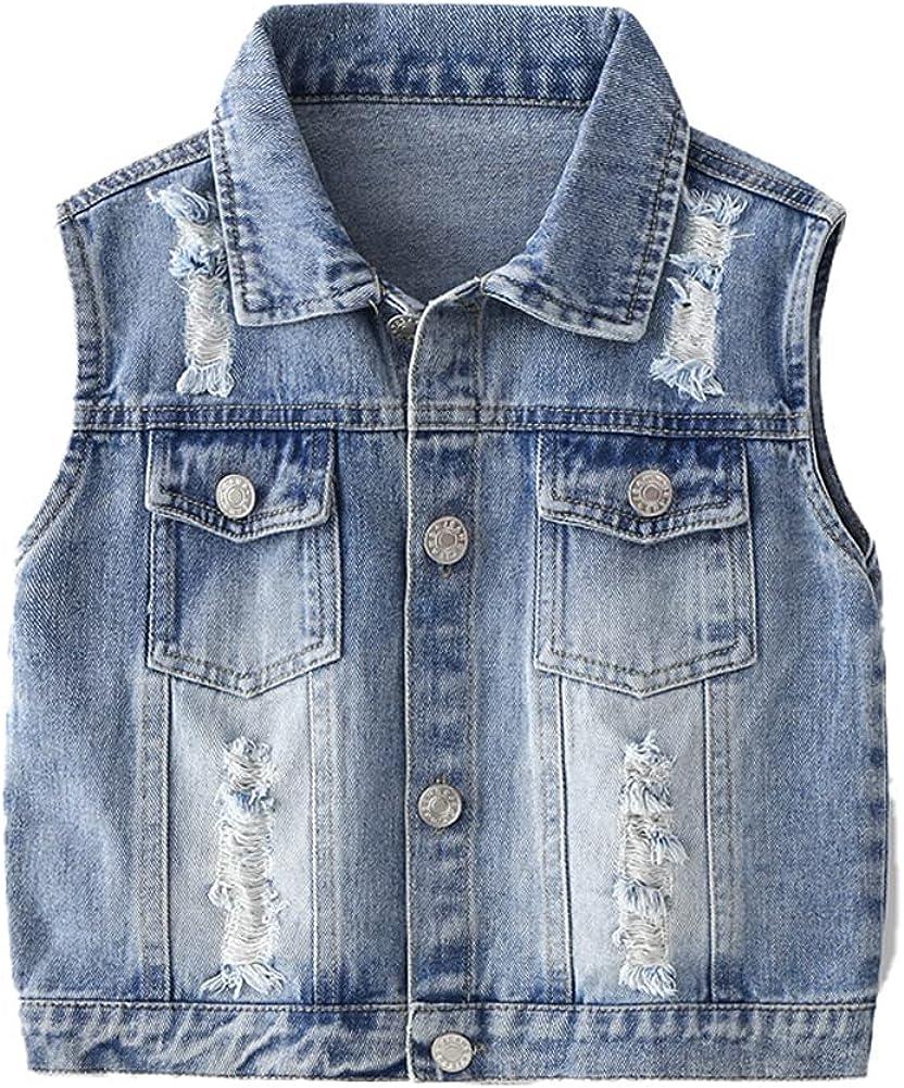 LittleSpring Little Boys Denim Vest Jean Sleeveless Jacket Button Down Fashion