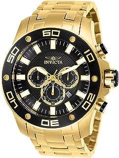 Invicta Pro Diver 26076 Reloj de cuarzo para hombre con correa de acero inoxidable, dorado, 30 (modelo: 26076)