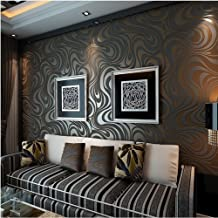 KeTian Modern Luxury 3D Abstract Curve Wallpaper Non-Woven Flocking Strips for Living Room/Bedroom Wallpaper Roll 0.7m (2....