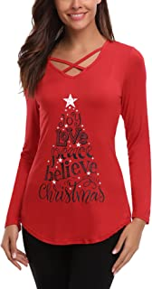 iClosam Womens Sexy Criss Cross Front V-Neck Long Sleeve Christmas Letter Print T-Shirt Tunic Tops