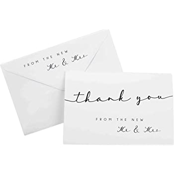 Thank You Cards for Wedding (Mr and Mrs Theme) - 100 Cards with Envelopes