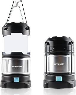 Expower IPX5 Farol portátil de camping, impermeable, USB, con batería integrada recargable de 4400 mAh, 4 modos de luz, muy luminosa, max. 185 lúmenes, mango plegable para pesca nocturna, caza o senderismo