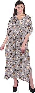 RADANYA Women's Floral Cotton Caftan 3/4 Sleeve Loose Maxi Summer Dress