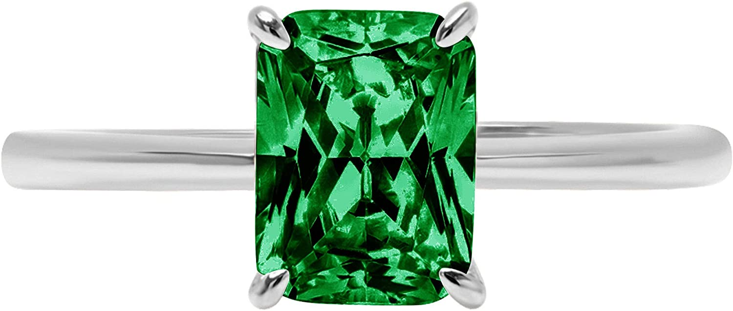 2.4ct Brilliant Radiant Cut Solitaire Flawless Simulated Cubic Zirconia Green Emerald Ideal VVS1 4-Prong Engagement Wedding Bridal Promise Anniversary Designer Ring Solid 14k White Gold for Women