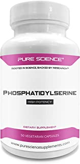 Pure Science Phosphatidylserine 100mg (From Soy Lecithin) – Essential Brain Nutrient for Improving Learning & Cognition and Reducing Cortisol – 50 Vegetarian Capsules of Phosphatidylserine Powder