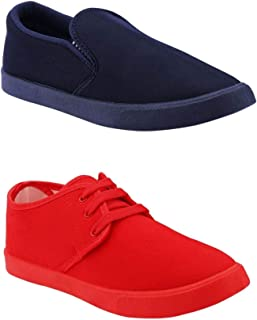 HOTSTYLE Men's 2 Pair Combo Canvas Casual Sneakers