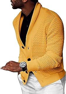 Tegerri Men Long Sleeve Knit Up Casual Sweater Cardigan Coat