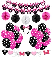 Minnie Themed Party Decorations Supplies Pink Minnie Ears Birthday Banner Garland for 1st 2nd Birthday Decorations