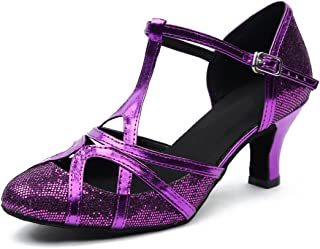 Minishion Women s T-Strap Glitter Salsa Tango Ballroom Latin Dance Shoes  Wedding Pumps 30228c193