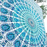 Aakriti Gallery Tapestry Sun Moon Starry Mandala 100% Cotton (Blue)