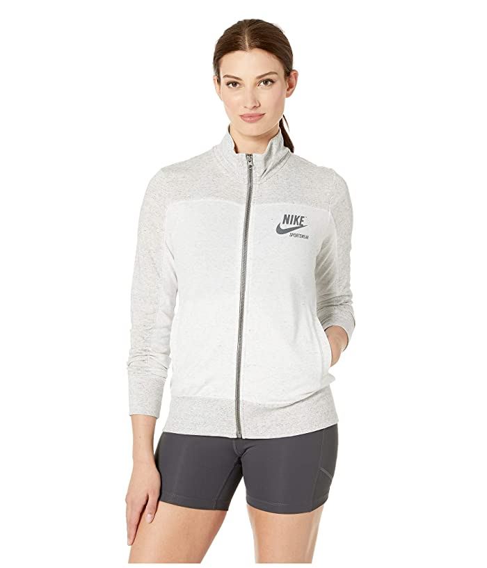 Nike Sportswear Gym Vintage Top Long Sleeve Full Zip Graphic (Grey Heather/Birch Heather/Dark Grey) Women