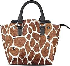Use4 Giraffe Spot Rivet PU Leather Tote Bag Shoulder Bag Purse