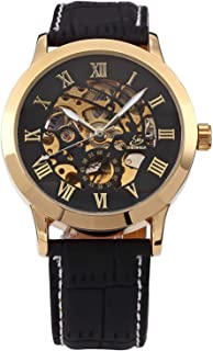 Carrie Hughes Men's Gold Skeleton Automatic Mechanical Stainless Steel Leather Watch CH625