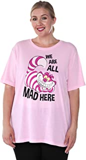 Disney Womens Plus Size T-Shirt Choose Print Alice in Wonderland or Cheshire Cat