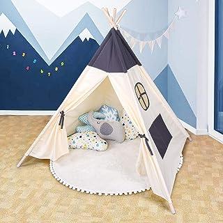 besrey spets teepee lektält tipi tält för barn av 100 % bomull barntält indiantält med förvaringsväska – spets