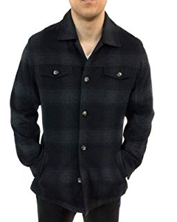 UTEX Men's Soft Wool Button Down Insulated Plaid Coat/jacket