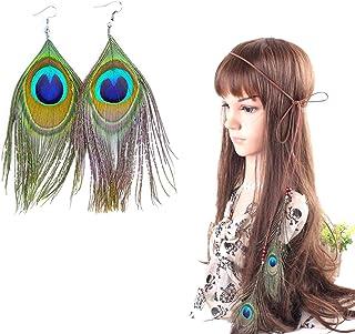 PPX Bandeau Indien Femme et Boucles D'oreilles, Bohémien Paon Hippie Bandeau plume Indien Originaire de Corde à cheveux He...