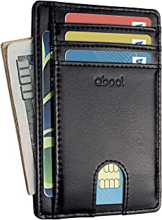 Front Pocket Wallet-Minimalist Slim Leather Card Case Wallets for Men with RFID Blocking/Lightweight Design