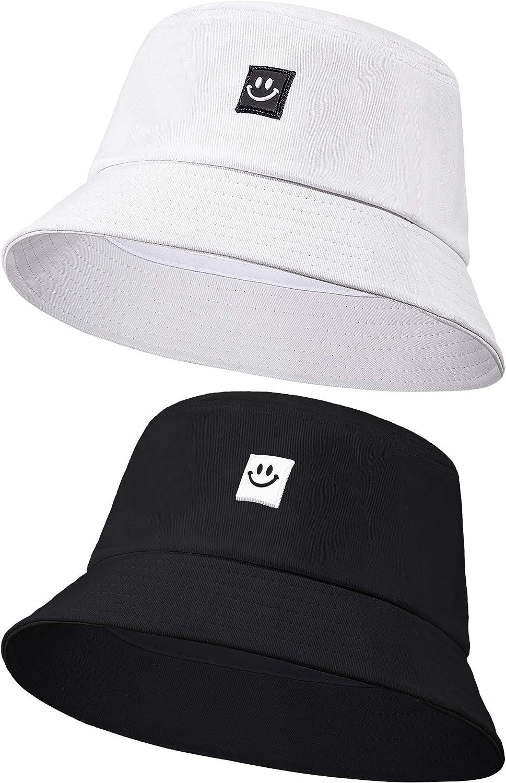 Smiling Face Bucket Hats Foldable Beach Sun Hats Fisherman Hats for Women Men