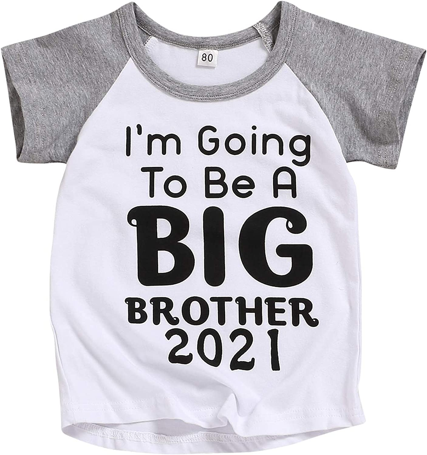 MagicPark Toddler Baby Boys T-Shirt Promoted to Big Brother Letters Print Short Sleeve and Long Sleeve Blouse
