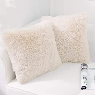 """NordECO HOME Luxury Soft Faux Fur Fleece Cushion Cover Pillowcase Decorative Throw Pillows Covers, No Pillow Insert, 18"""" x 18"""" Inch, Beige, 2 Pack"""