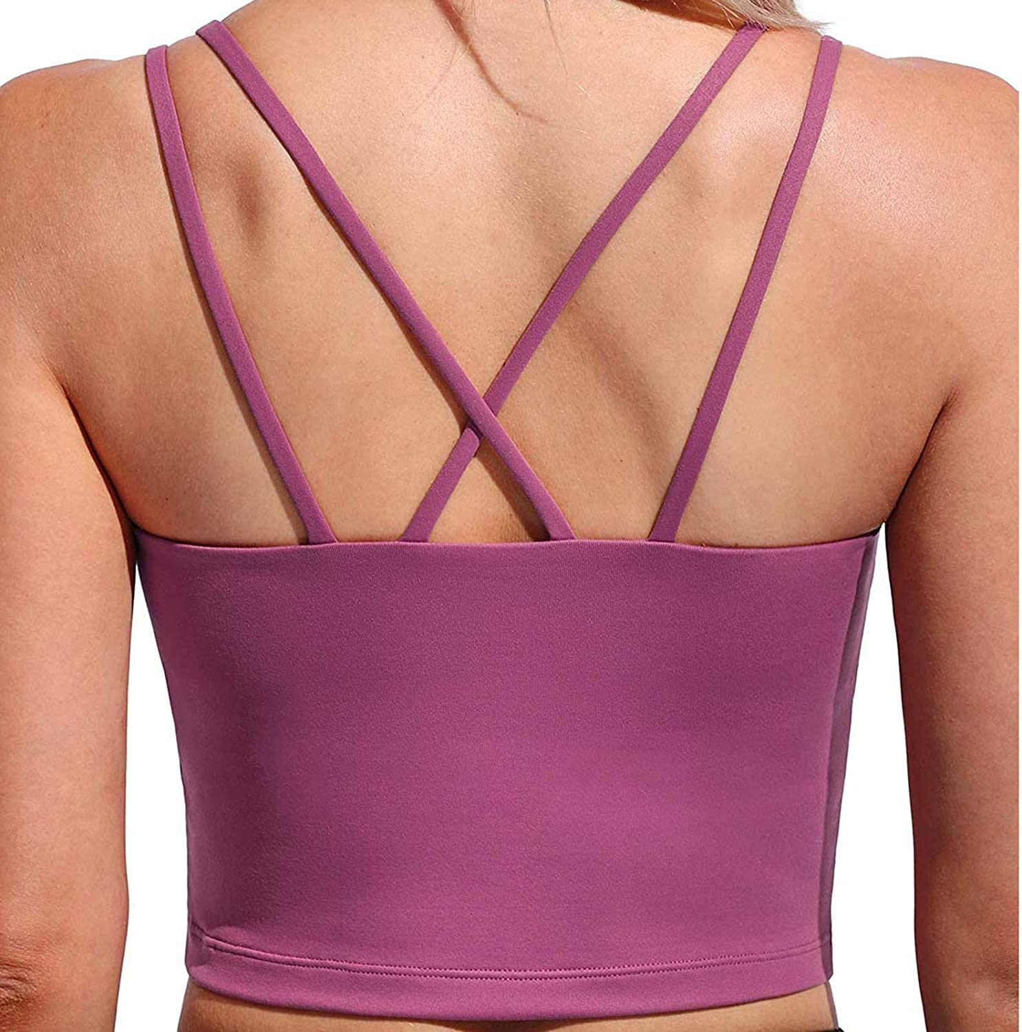 FUNEY Strappy Sports Bras for Women Sexy Crisscross Back Cute Yoga Workout Bra Solid Color U Neck Casual Vest Blouse