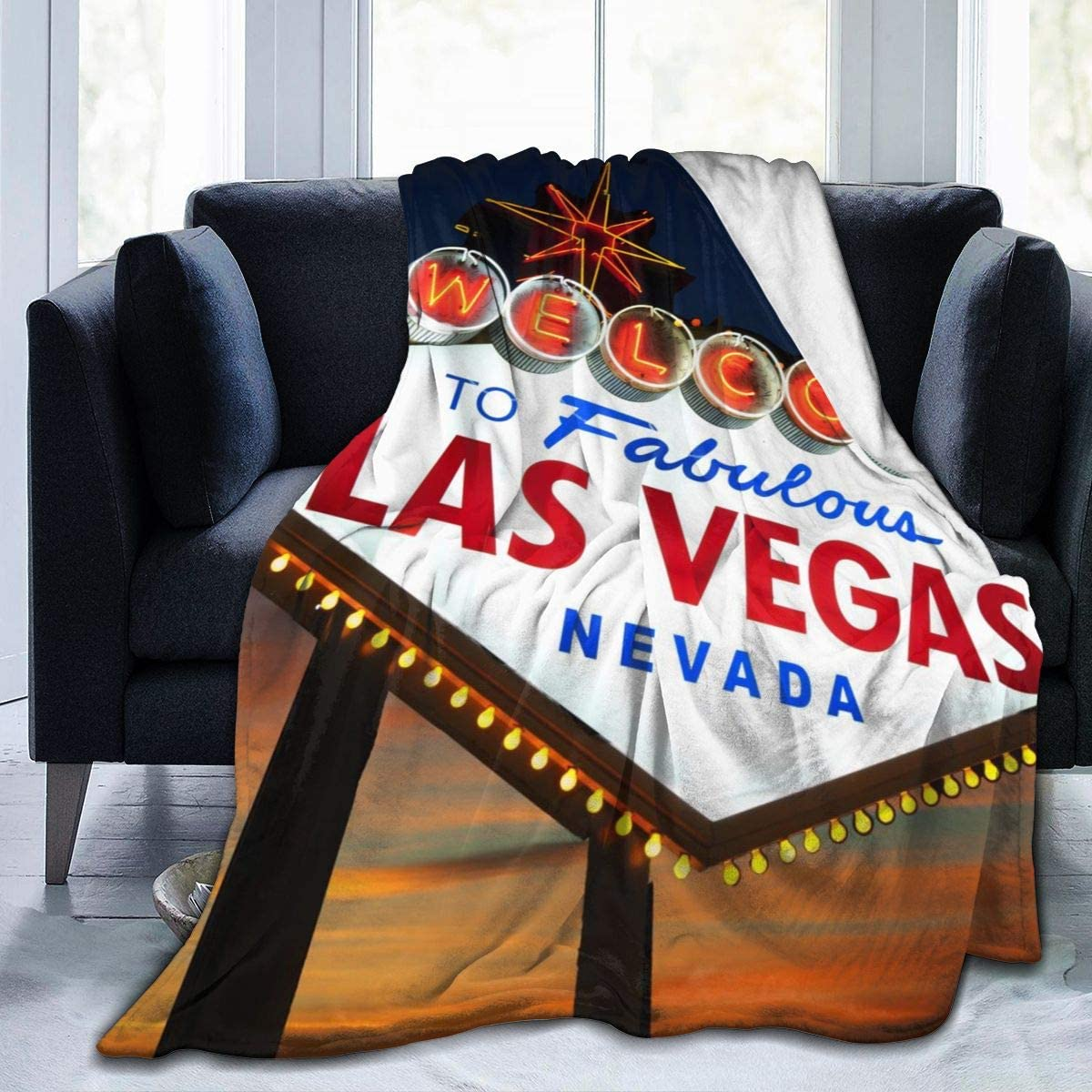 UNSUWU Welcome to 『1年保証』 The Las Vegas U for Blankets Couch Sign OUTLET SALE Throw