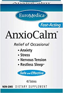 EuroMedica AnxioCalm - 45 Tablets - Clinically-Studied Supplement for Fast-Acting Relief of Occasional Stress & Nervous Te...