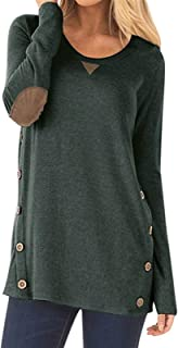 إيمرأة قمصان التونيك وتي شيرتات بجودة عالية مزود بفص منخفض مزود بغطاء علوي مع أزرار هيملاين (اللون: أخضر، المقاس: مقاس XXL)