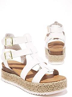 SODA Embassy Women's Open Toe Ankle Strap Espadrille Sandal (8 M US, White E)