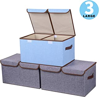 """Yostyle Large Foldable Storage Cubes,Fabric Collapsible Storage Bins Organizer Basket Boxes Containers with Lid, Handles, Removable Divider for Home, Office, Nursery, Closet - (17.7 x 11.8 x 9.8"""")"""