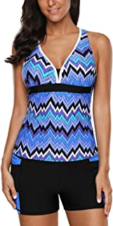 HOTAPEI Women's Racerback Tankini Set Boyshort Two Piece Swimsuit