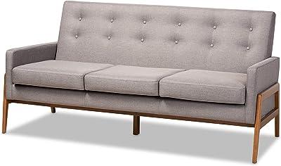 Baxton Studio Sofas, One Size, Light Grey/Walnut